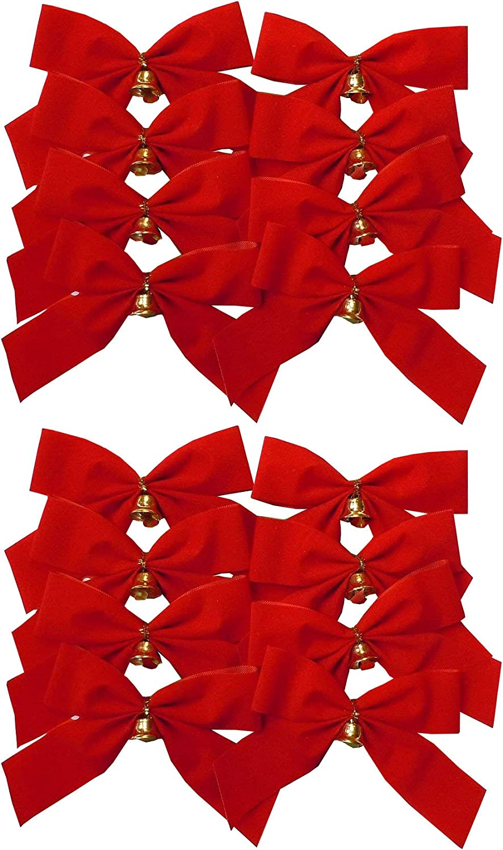 Choose Colour Pack of 16 Christmas Mini Glitter Bows Self Adhesive