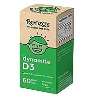 Renzo's Dynamite D3, Dissolvable Vegan Vitamins for Kids, Zero Sugar, Lil' Green...