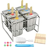 Ice Lolly Mold Stainless Steel Popsicle Mold Ice Cream Mould with Stainless Steel Stick Holder Base Lolly Maker Set Ice Pop Mold DIY Ice Cream Mould Maker Freezer Set of 6