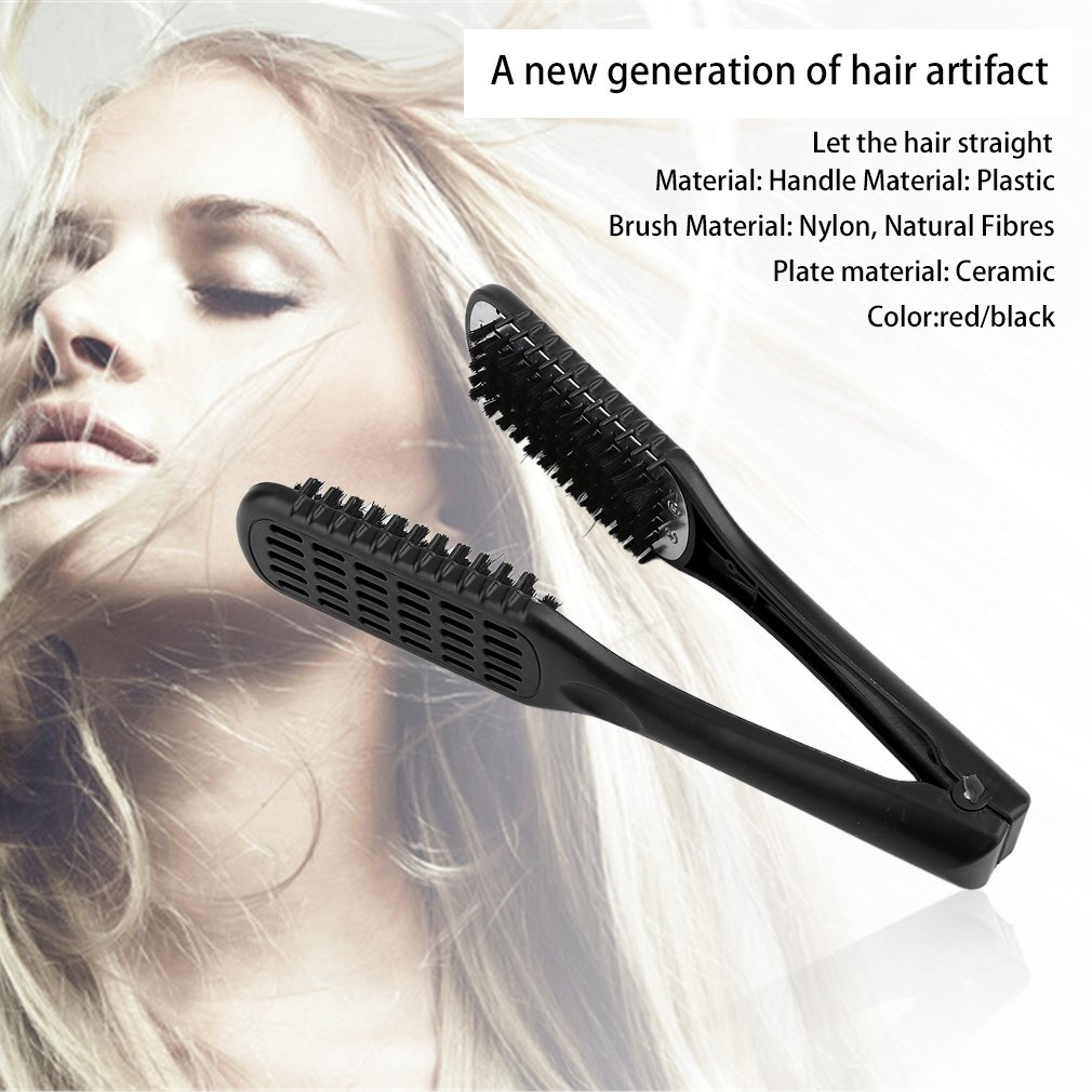 Beautyer Ceramic Straightening Comb Double Sided Brush Clamp Hair Comb Hairstylig Tool Health Beauty