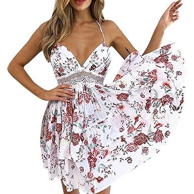 Damen Party Kleid Abendkleid Cocktail Rüschen Minikleid Sommer Partykleider