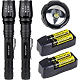 2X Tactical High Lumens Led Flashlight 18650 T6 Torch , Batteries  and Charger Include,US Stock