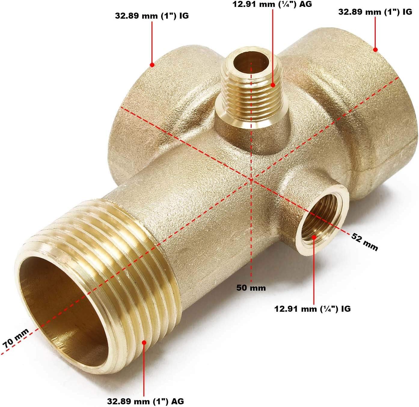"""Raccord en laiton 5 voies DN25 1/"""" DN13 1//4/""""Réservoir pression à vessie"""