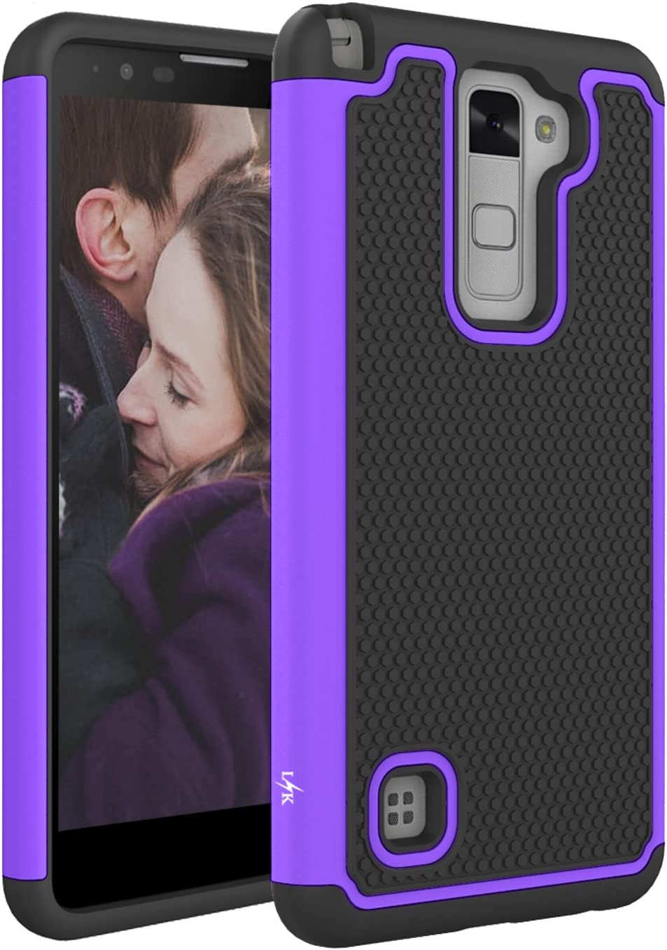 LG Stylo 2 Case, LK [Shock Absorption] Drop Protection Hybrid Dual Layer Armor Defender Protective Case Cover for LG Stylo 2 (Purple)