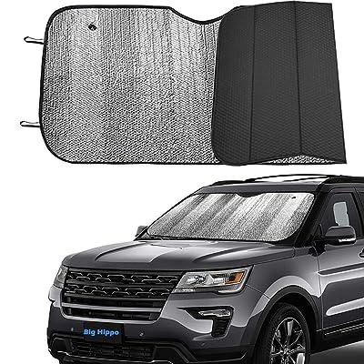 Big Hippo Front Car Sun Shade Windshield, Jumbo/Standard Sunshade Keeps Vehicle Cool UV Ray Sun Visor Protector Sunshades - Easy to Use Folding Sun Shade - Silver/Black Sides(Size: 55.16 X 27.5inch): Automotive