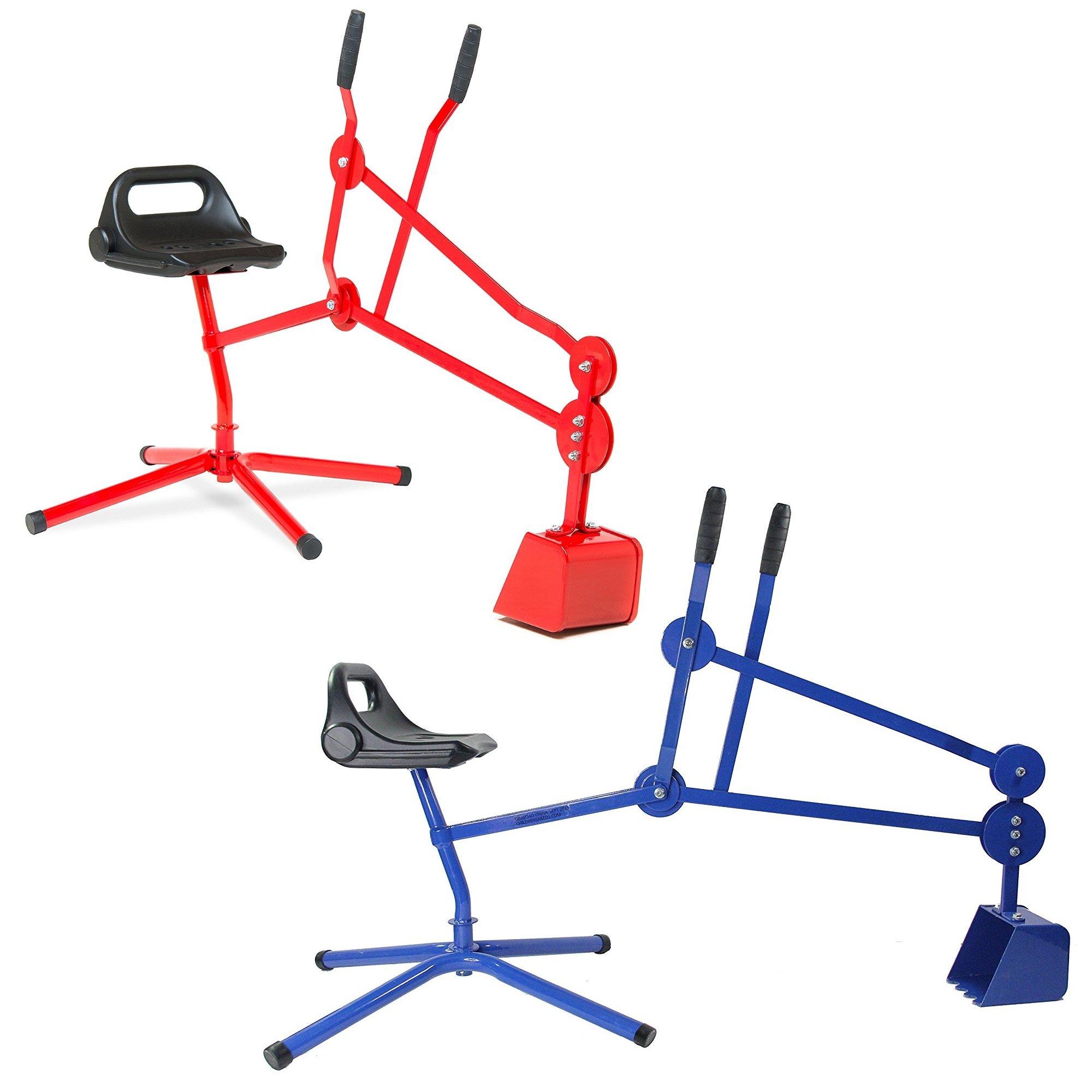 Bundle - 2 Sand Digger Toy Crane (Red) (Blue)