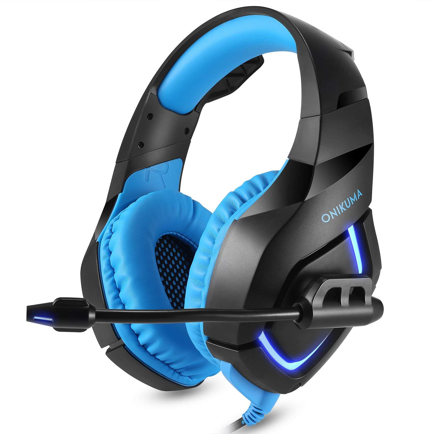 Stereo Gaming Headset for PS4, PC, Xbox One Controller, Noise Cancelling Over Ear Headphones with Mic, LED Light, Bass Surround, Soft Memory Earmuffs for Laptop Mac Nintendo Switch Games by ONIKUMA