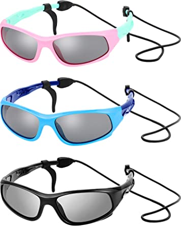 Amazon.com: 3 Sets Kids Sunglasses Children Sports Sunglasses with Rubber  Strap for Boys and Girls Daily Wear (Black, Blue, Pink): Clothing