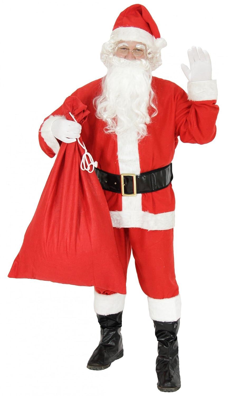 Rot-Wei/ß Foxxeo 9-teiliges Weihnachtsmann Nikolauskost/üm Kost/üm f/ür Herren Mit M/ütze G/ürtel und Handschuhe Bart Gr.-3XL