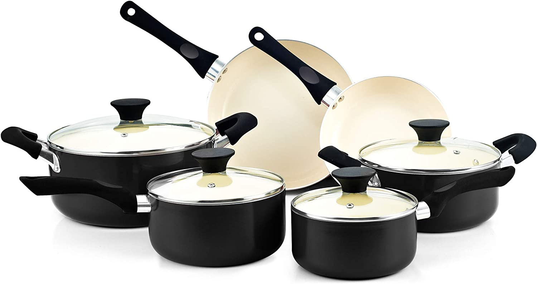 Cook N Home 02414 10 Piece Nonstick Ceramic Coating Cookware set, Black