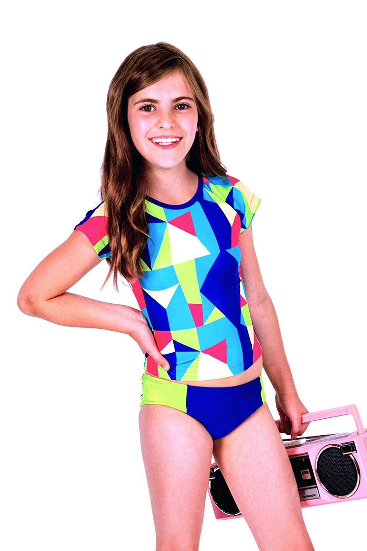 Limeapple Short Sleeves Rashguard Swimsuit 2 Pc Set Color Block Youth Size 10