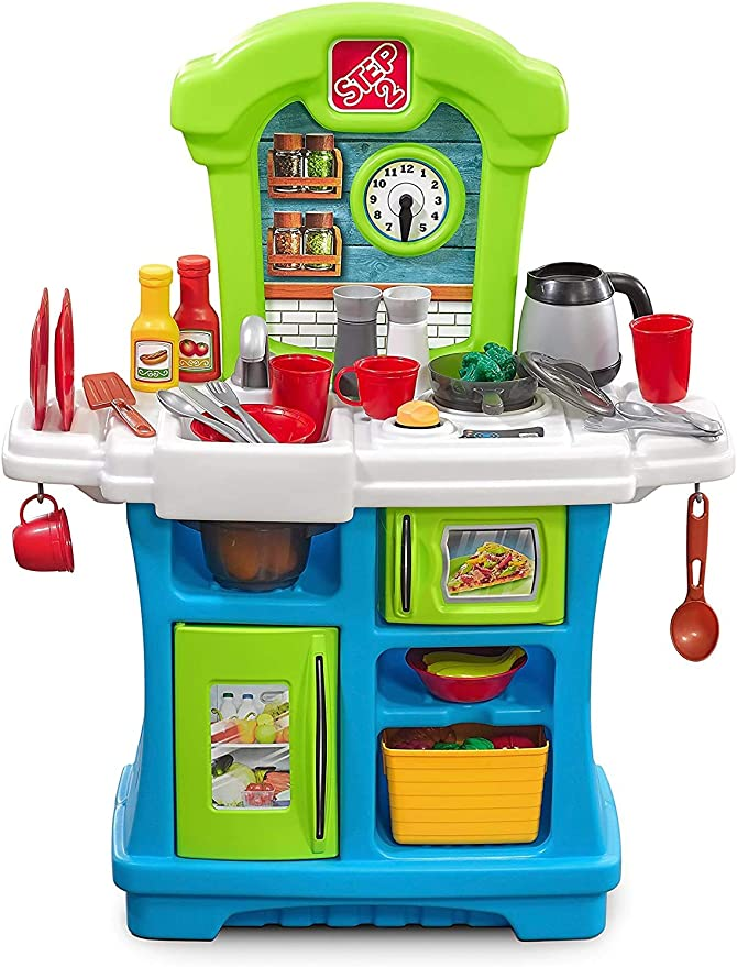 Step2 Little Cooks Kitchen Play Kitchen For Babies Toy Accessories Set Baby Kitchen Playset With Realistic Sounds Toys Games Amazon Com