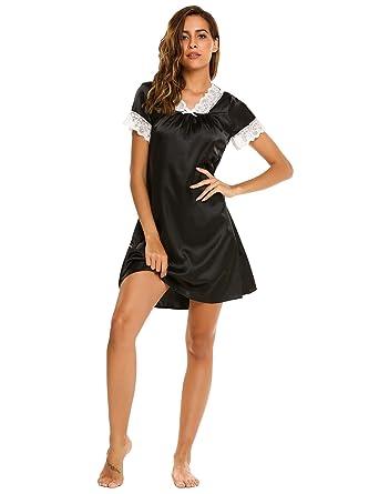 c8c6d054f2 ADOME Women Satin Nightdress Short Sleeve Nightgown Lace Trim Nightwear  V-Neck Sleepwear  Amazon.co.uk  Clothing