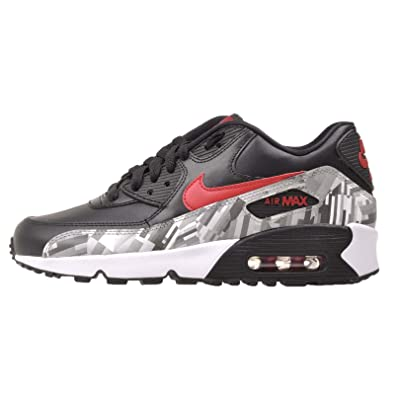 Nike 844602-001 Kid's Air Max 90 Leather Running Shoes, Black/Gym Red
