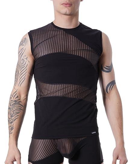 Look Camiseta Tirantes Negro Hombre Sexy Cuello Redondo Opaco y Transparente con Rayas, : Amazon.es: Salud y cuidado personal