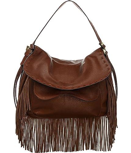 Amazon.com  Vitalio Vera Anaya Brown Fringe Crossbody Convt Big Hobo Handbag   Shoes ecb142d8820cc