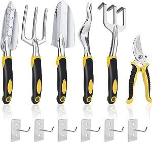 Gostur 6PCS Garden Tool Set, Heavy Duty Gardening Hand Tools Kit - Trowel, Transplanter, Hand Rake, Weeder, Pruner, Cultivator - Ergonomic Non-Slip Handle - Ideal Gifts for Men & Women