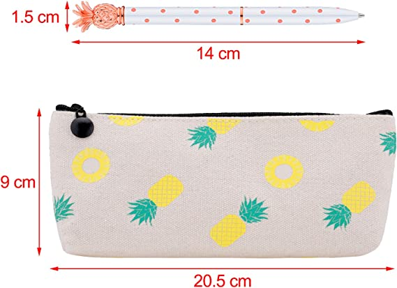 6 Pieces Pineapple Ballpoint Pens and Pineapple Pencil Pouch Bag for School Home Supplies