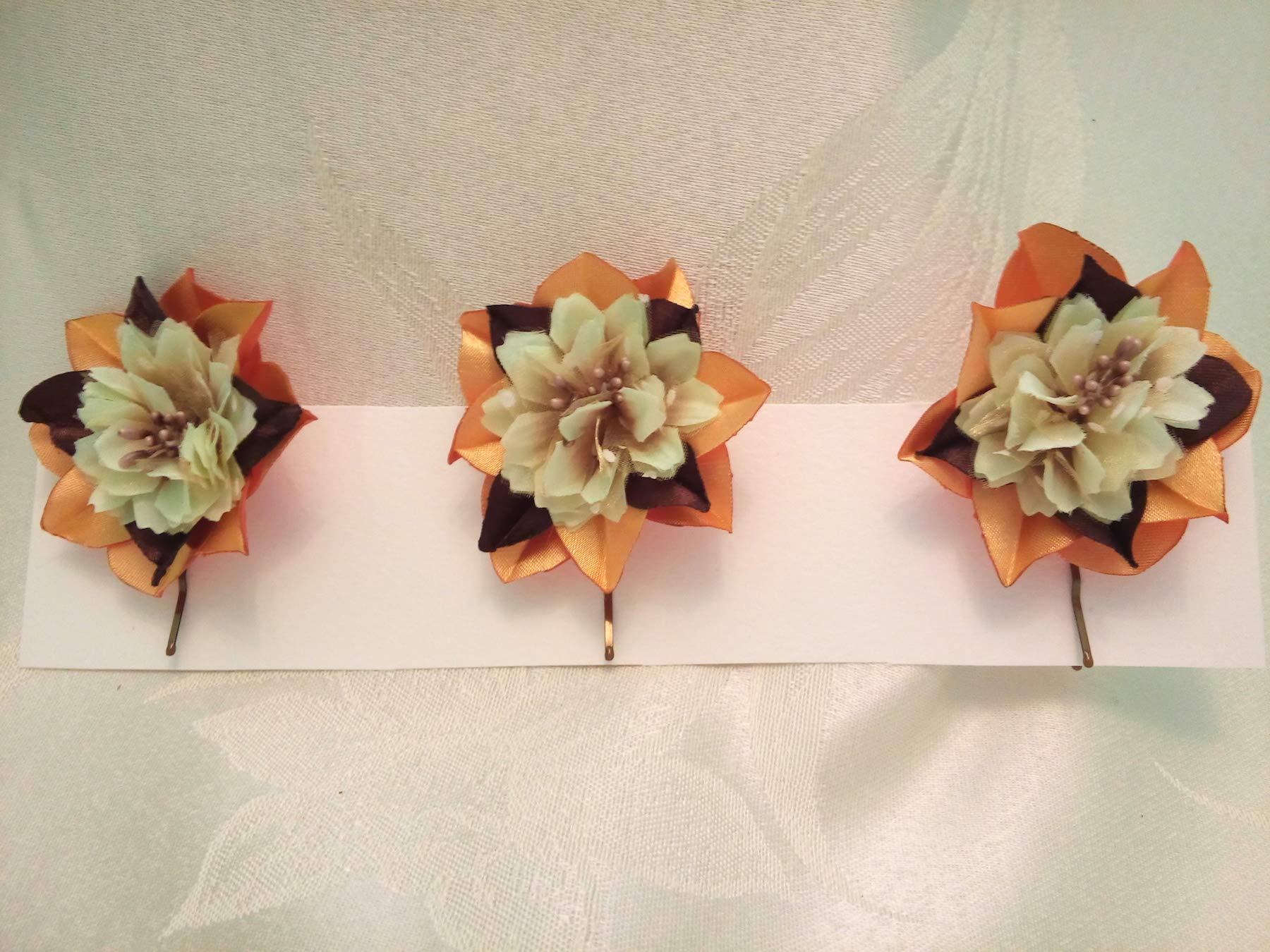 Bobby Pins Hair Gold Yellow Brown Set of 3 flower Wedding hair flowers