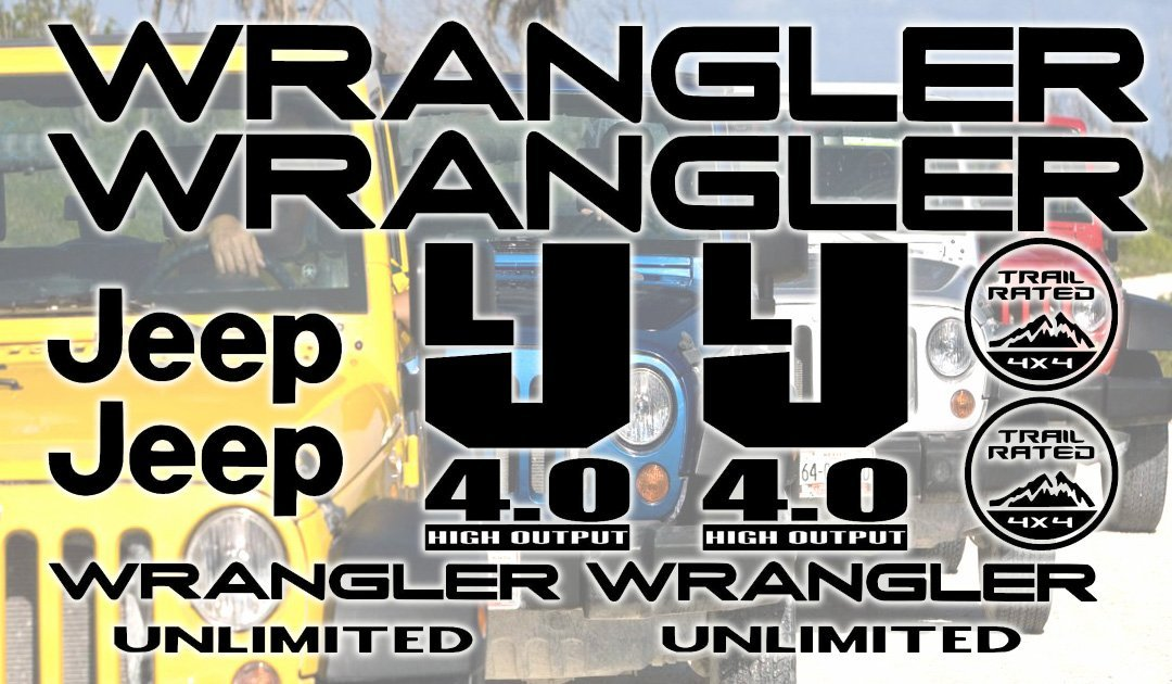 Jeep Wrangler JK Unlimited Decal Sticker Set of 10