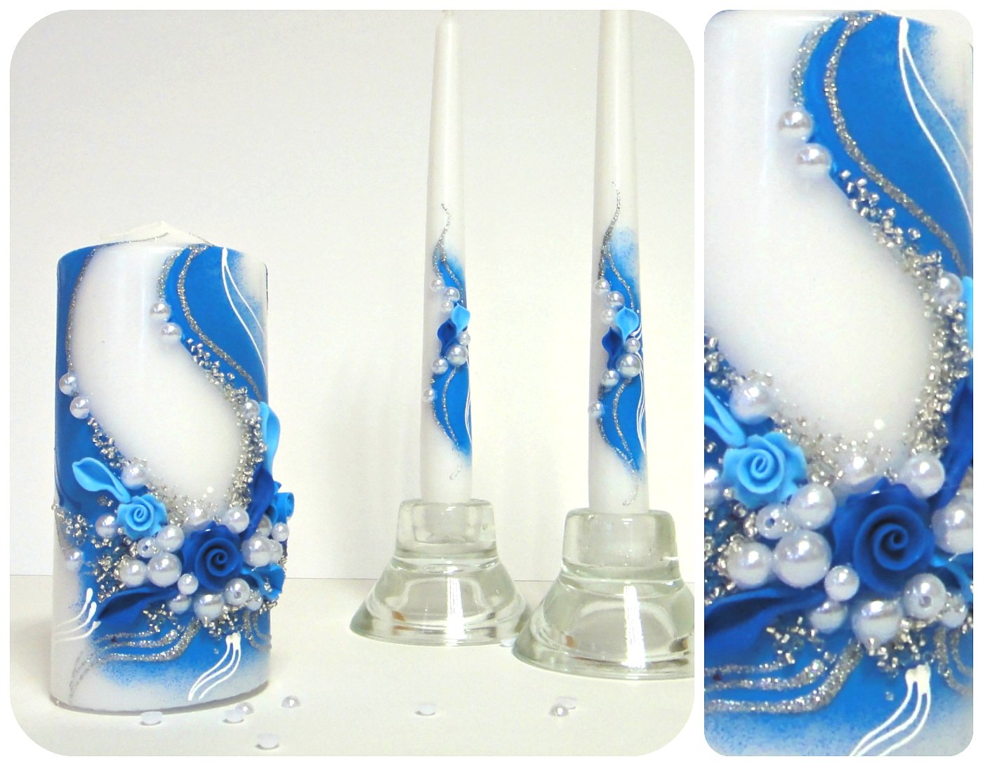 Magik Life Unity Candle Set for Wedding - Wedding décor & Wedding Accessories - Candle Sets - Birthday |Wedding Settings |Ceremony Ideas Party (Blue with Wave) by Magik Life