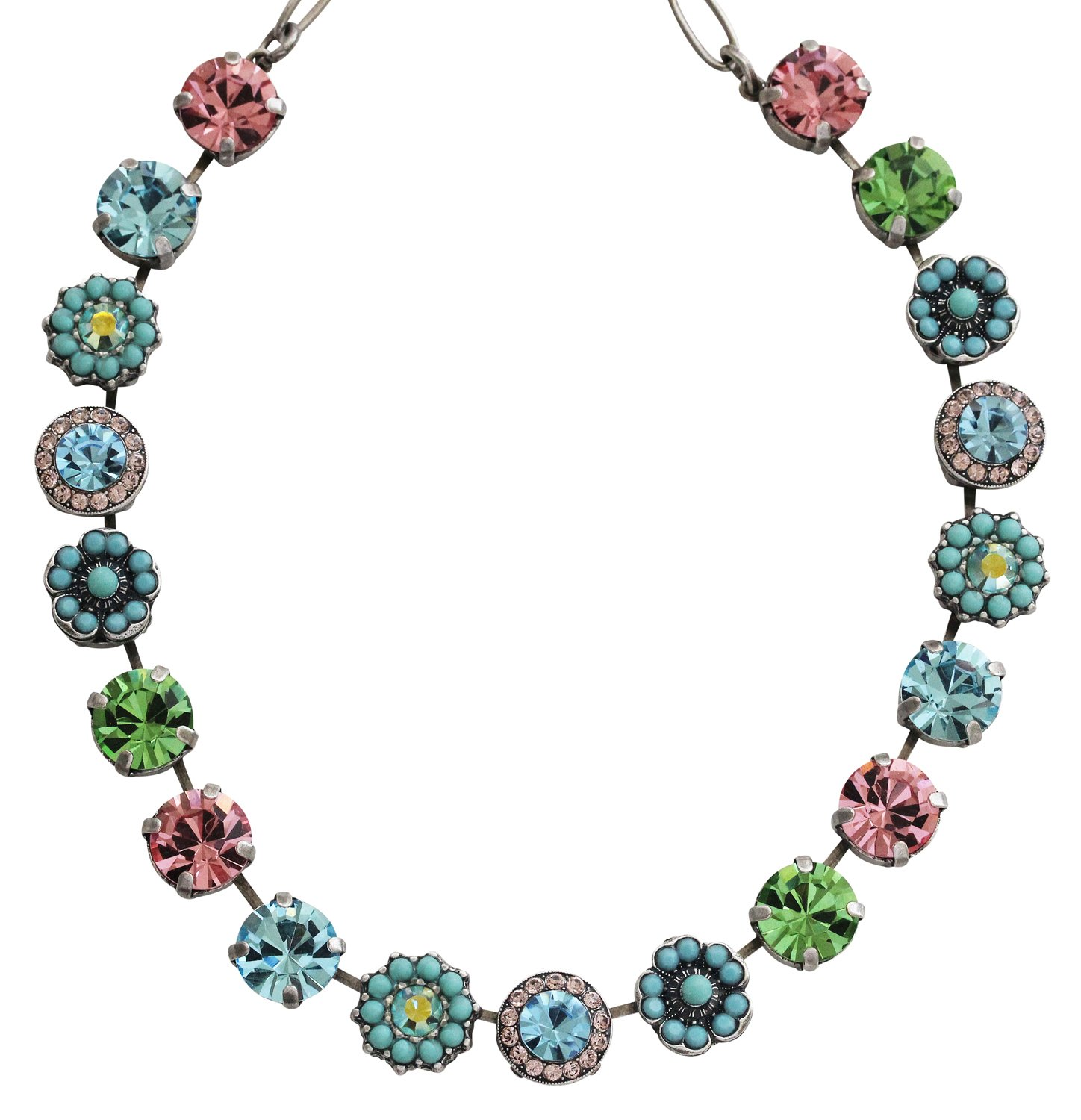 Mariana Silvertone Large Flower Shapes Crystal Necklace, ''Summer Fun'' Blue Pink Multi Color 3084 3711