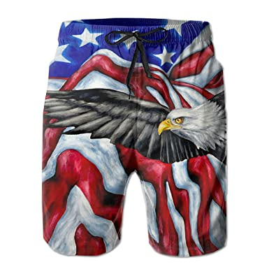 b0625bf63f Bald Eagle and American Flag Mens Swim Trunks Quick Dry Board Shorts Summer  Elastic Waist Swimwear