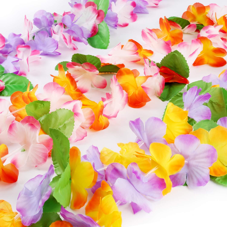Howaf Hawaii Blumenketten Hawaiikette Armb/änder Stirnb/änder Hula Set und Blume Tattoos f/ür Hawaii Party Kost/üm Luau Sommer Beach Party Dekorationen