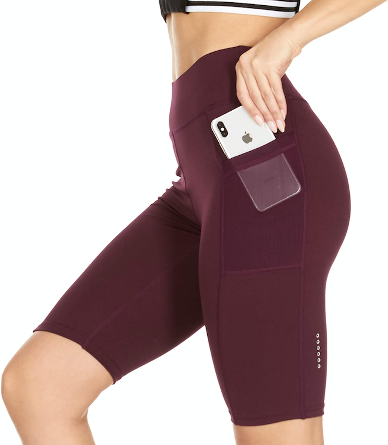 RAG Womens Activewear High Waist Workout Shorts for Yoga with Side Pockets