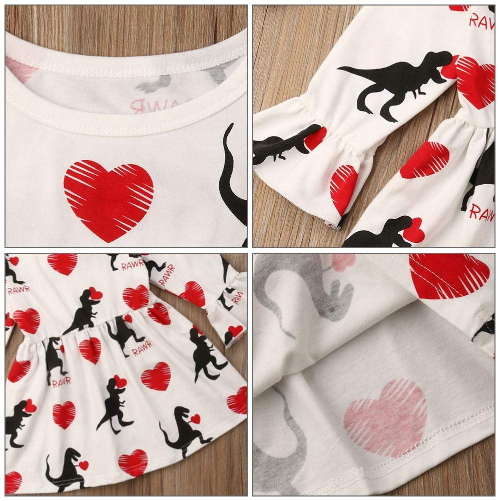 Domybest Dress Baby Girl Valentine Day Toddler Girls Summer Dress Dinosaur Heart Print Princess Party Tutu Skirt Clothes