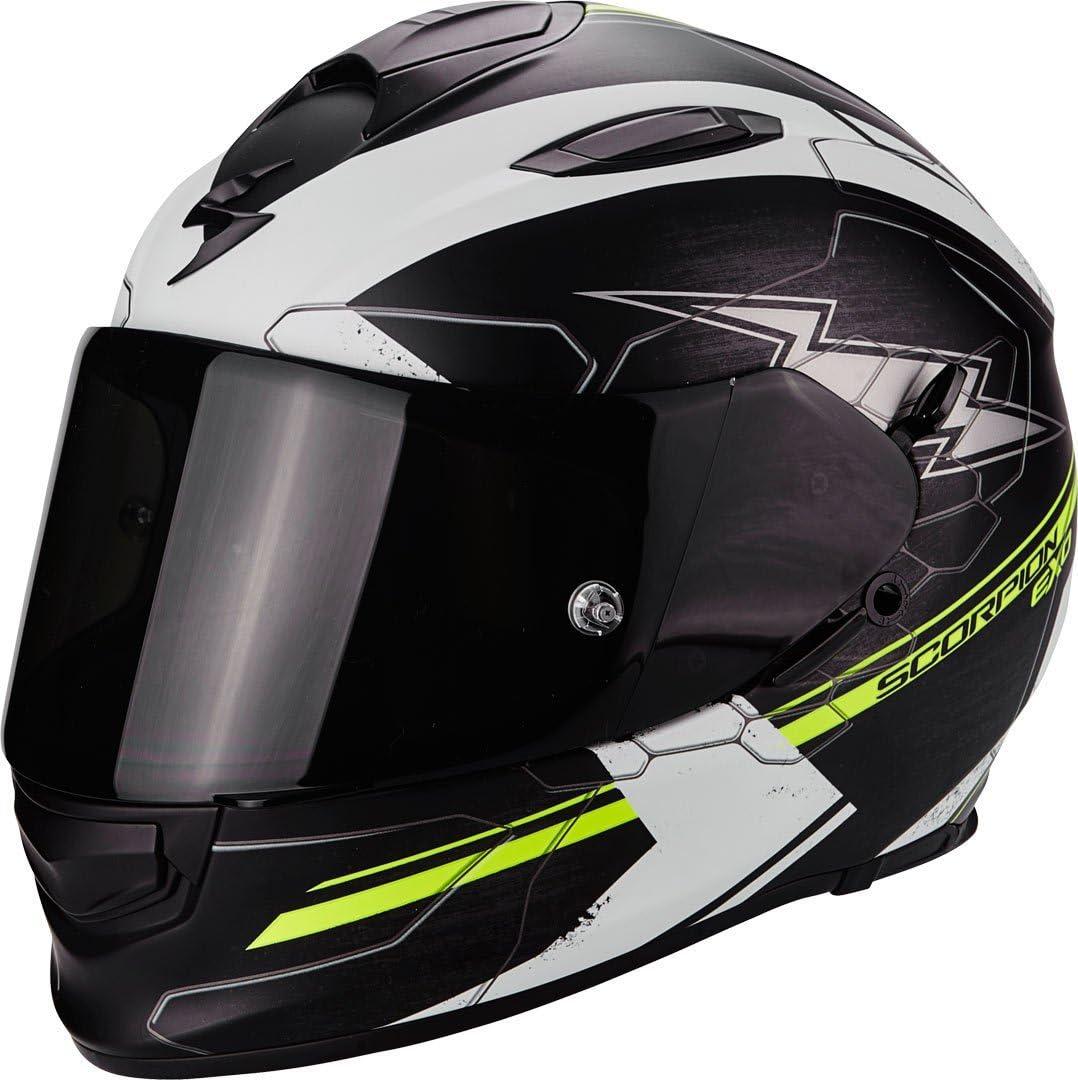 S SCORPION Casque moto EXO 510 AIR Cross Noir Mat Blanc Jaune fluo Noir//Blanc//Jaune