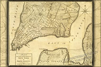 Map Of New York 1776.Amazon Com New York City Map 1776 24 X36 Poster Prints Posters