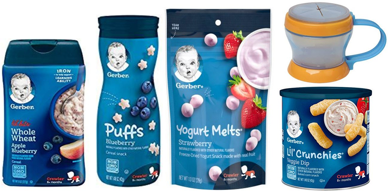 Gerber Baby Food Sampler Pack of 5 - Puffs, Melts, Lil Bits Cereal, Lil Crunchies and Snack Catcher by Narrow Path Sales