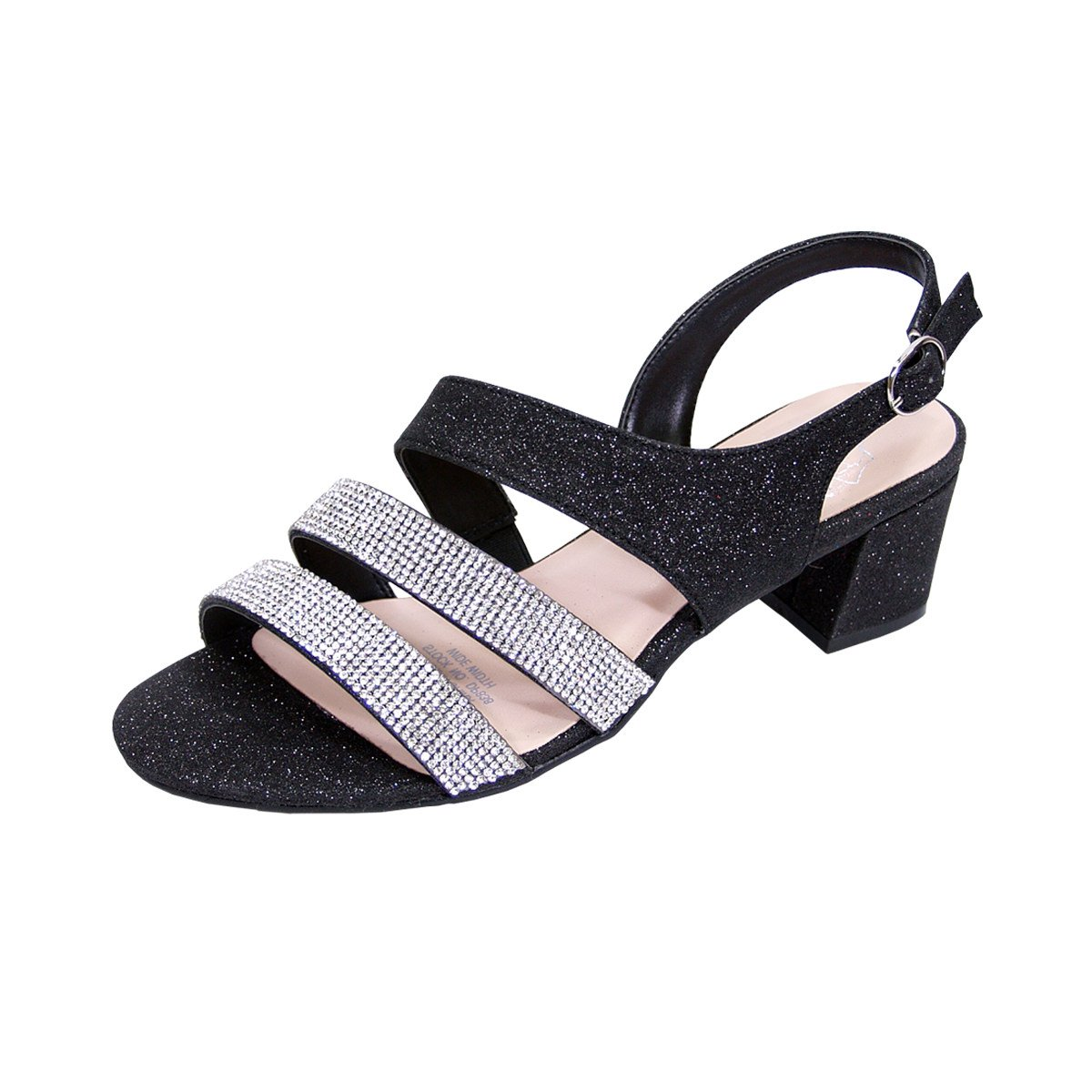 Floral Dorothy Women Extra Wide Width Chic Rhinestone Straps Dressy Party Heeled Sandals Black 9