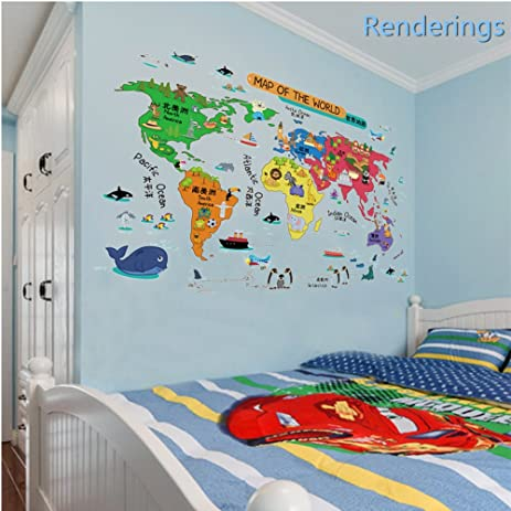 Amazon world maps wall decals stickerscolorful animalfamous world maps wall decals stickerscolorful animalfamous building map nursery kids wallpaper home gumiabroncs Image collections
