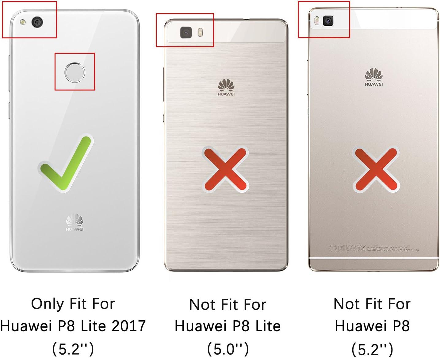 HOOMIL Funda para Huawei P8 Lite 2017, Funda de Cuero PU Premium Carcasa para Huawei P8 Lite 2017 (Negro): Amazon.es: Electrónica