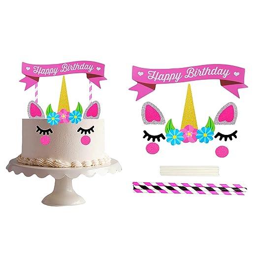 Cake Topper de Unicornio Toymio Hecho a Mano Feliz Cumpleaños DIY Linda Unicornio Cuerno, Orejas y Pestañas Decoraciones para Cumpleaños Unicorn Party ...