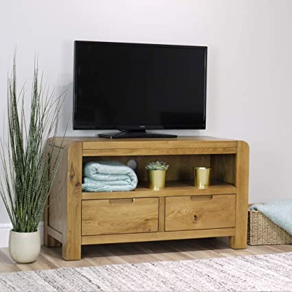 wholesale dealer c40db 3e824 Turin Oak Small TV Stand / 2 Drawer Storage TV Unit/Rounded Curved  Edges/Living Room Storage