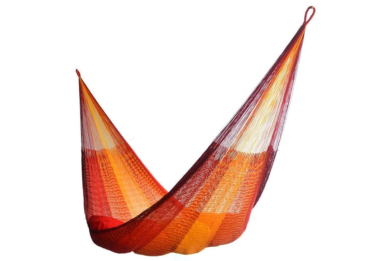 AMALYSSA - Amaca a Rete Kingsize Mexican Sunrise, Rosso e Arancione, Rete Resistente, Comfort e Resistenza, Asciugatura Rapida, Lavabile a 30°, Produzione Artigianale Lavabile a 30° Mayer Trading