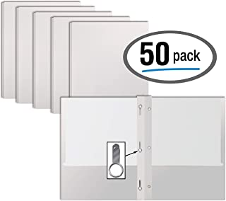 White Paper 2 Pocket Folders with Prongs, 50 Pack, by Better Office Products, Matte Texture, Letter Size Paper Folders, 50 Pack, with 3 Metal Prong Fastener Clips, White