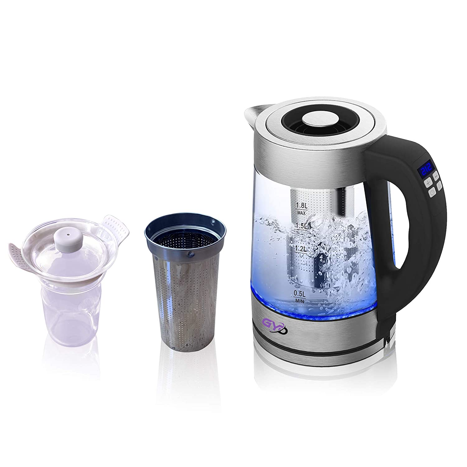 GYD Eletric Kettle with Tea Infuser and Warmer Cup 1.8L 1200W Temperature Controllable with LCD Display.