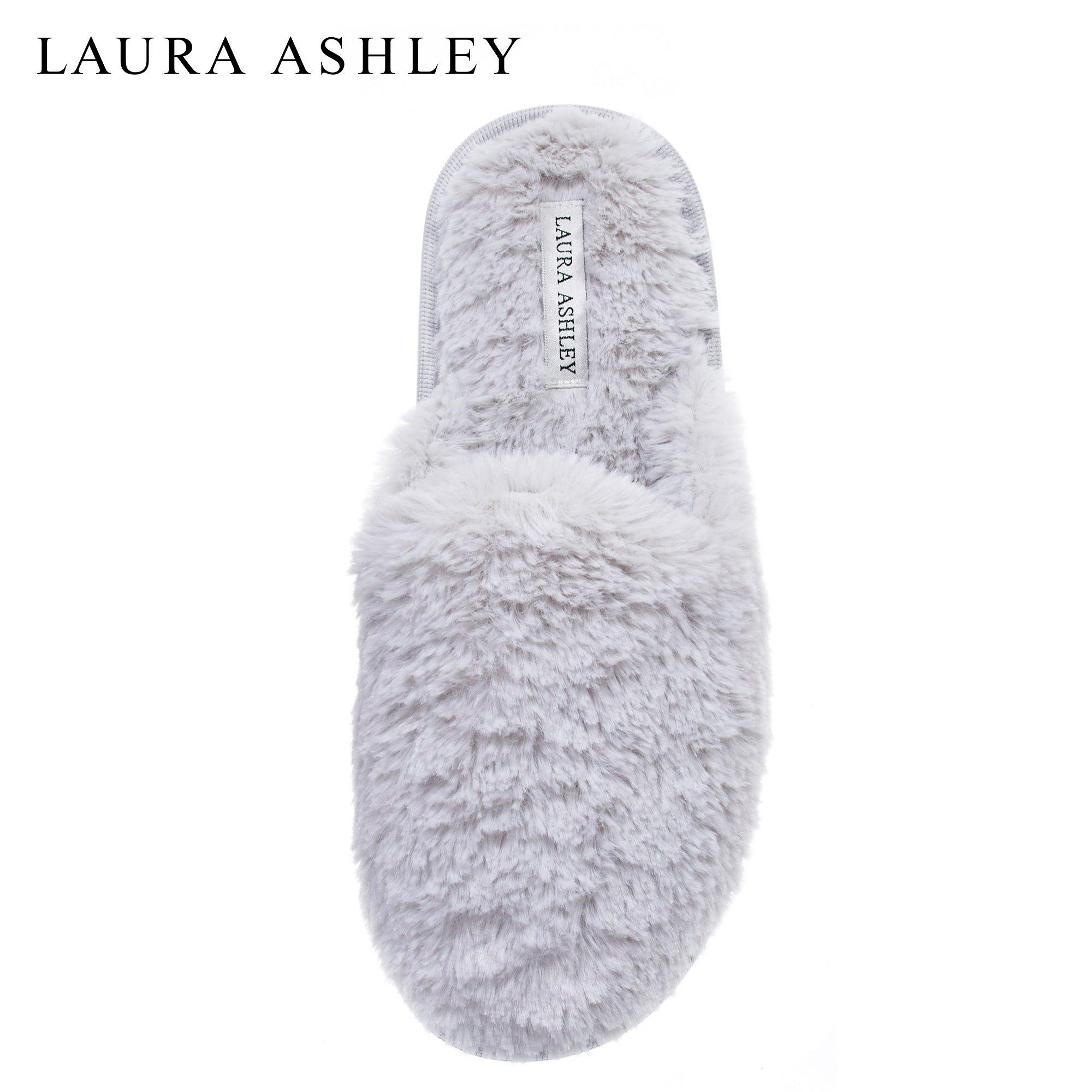 Laura Ashley Womens All Plush Memory Foam Scuff Slippers Light Grey Large