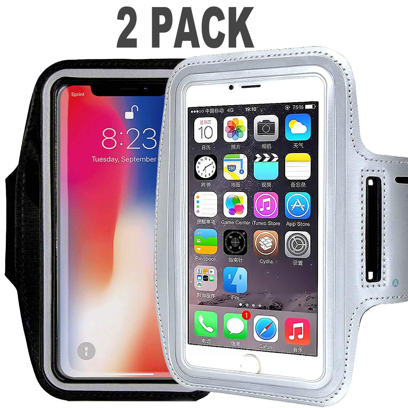 [2Pack] Water Resistant Cell Phone Armband Case CaseHQ for iPhone X, Xs,XR,MAX 8, 7, 6, 6S Plus, Galaxy S9, S8, S7, S6, A8 Adjustable Band,Key Pouch Holder Pouch Running,Walking, Hiking,Black Silver
