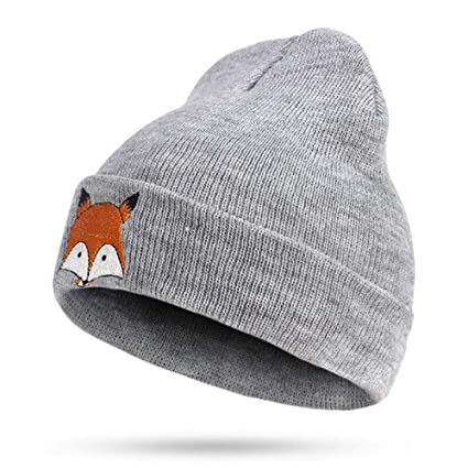 ZXGJMZ Bordado de Fox Gorros de Punto Sombrero de Invierno Hombre Mujer Gorra Suave Niño Niña