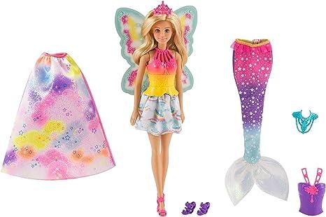 Amazon.es: Barbie Dreamtopia, muñeca 3 en 1, princesa, hada y sirena (Mattel FJD08), color/modelo surtido: Juguetes y juegos