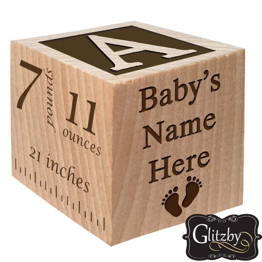 Personalized Baby Block New Birth Announcement Custom Engraved Wooden Baby Block for Newborn Boys and Girls
