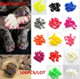 100Pcs Soft Pet Cat Nail Caps Claws Control Paws Of 5 Kinds Different Colors + 5Pcs Adhesive Glue + 5pcs Applicator with Instructions