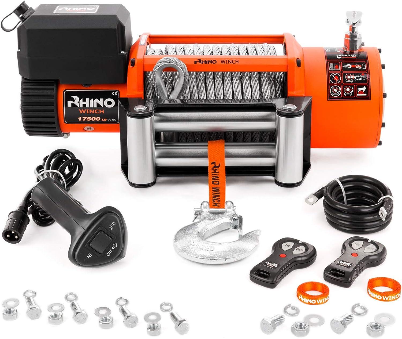 Rhino - Cabrestante Eléctrico 7940Kg - Sistema Inalámbrico 12 V - Cable de Acero
