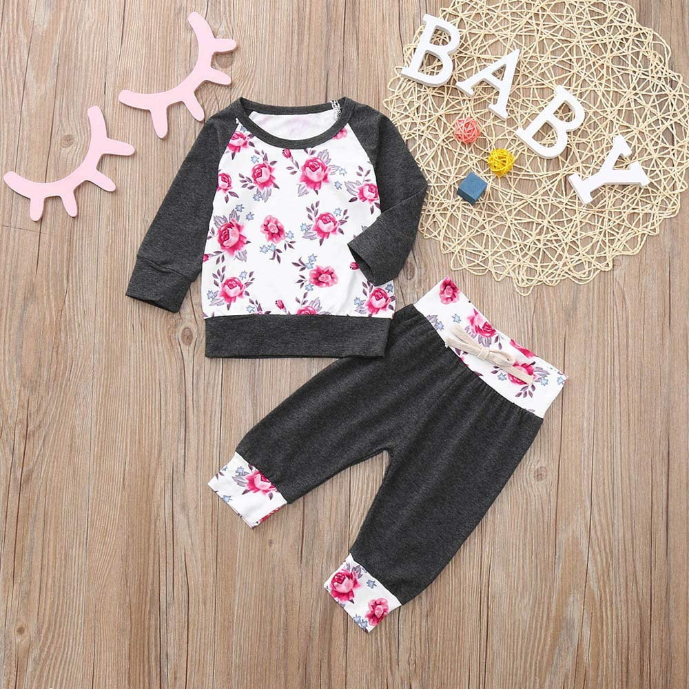 Amazon Com Kimanli Toddler Baby Set Suit Boys Girls Floral T Shirt Pants Kit Casual Outfits Set Clothing