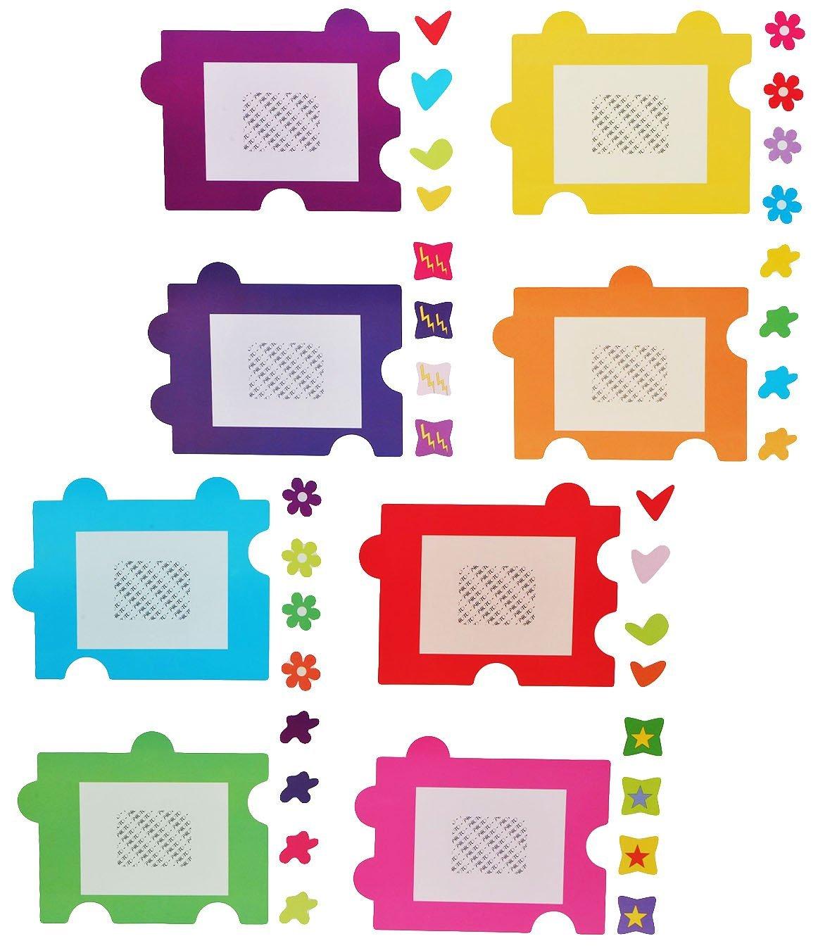 XL Wandtattoo / Sticker - Fotorahmen als Puzzle Herzen Blumen für ...